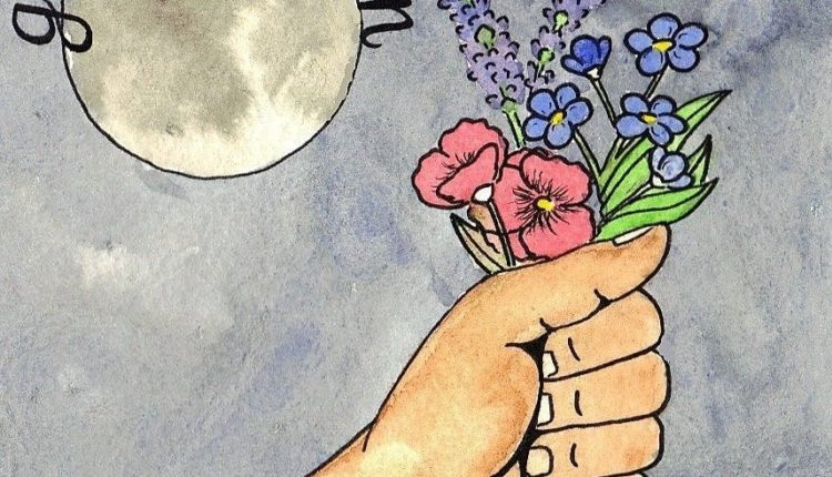Give you the Moon album art featuring a moon and hand holding a floral bouquet