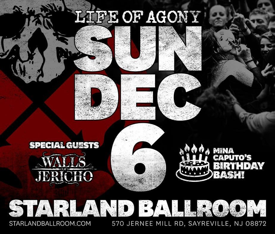 Life of agony to play rare show dec 6 in new jersey nys for New jersey house music