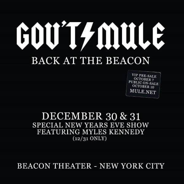 Gov't Mule Announces New Years Eve run and Vault Releases
