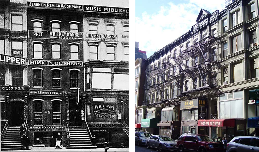 Tin Pan Alley in New York City, home to songwriters and music publishing companies